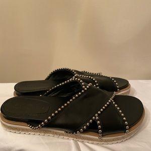 Zara Black leather cross cross silver stud sandals
